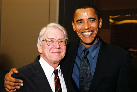 Dr. Quentin Young and Sen. Barack Obama